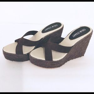 Colin Stuart Brown Cross Toe Wedges Espadrille 8.5